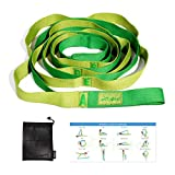 Trideer Lettered Stretching Strap - 12 Loops Non-Elastic Stretch Strap, Perfect Home Workout Stretch Out Strap for Physical Therapy, Yoga, Pilates, Dance - Extra Guide & Carry Bag
