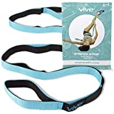 Vive Stretch Strap - Leg Stretch Band to Improve Flexibility - Stretching Out Yoga Strap - Exercise and Physical Therapy Belt for Rehab, Pilates, Dance and Gymnastics with Workout Guide Book (Teal)